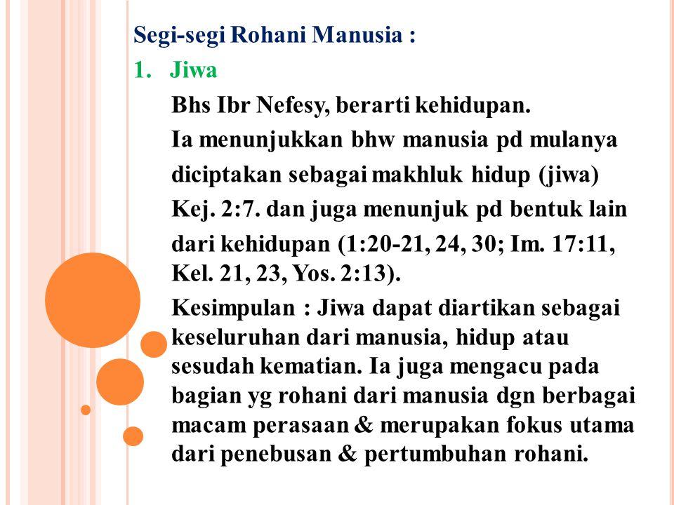 Segi-segi Rohani Manusia : 1. Jiwa Bhs Ibr Nefesy, berarti kehidupan. Ia menunjukkan bhw manusia pd mulanya diciptakan sebagai makhluk hidup (jiwa) Ke
