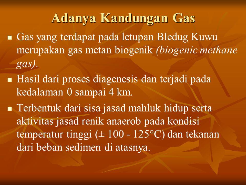 Adanya Kandungan Gas Gas yang terdapat pada letupan Bledug Kuwu merupakan gas metan biogenik (biogenic methane gas). Hasil dari proses diagenesis dan