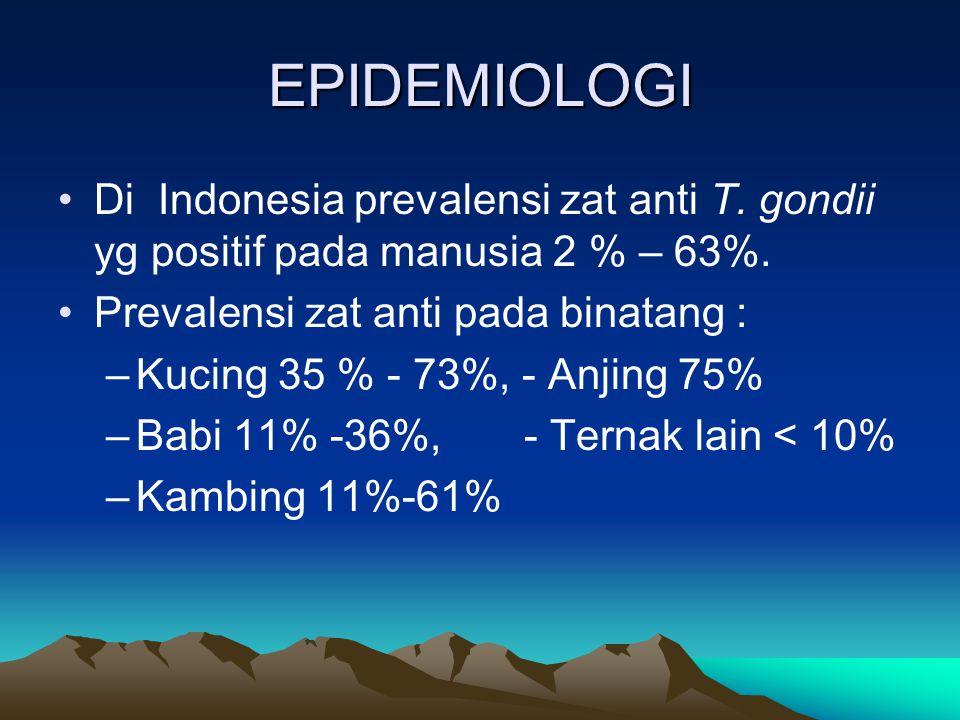 EPIDEMIOLOGI Di Indonesia prevalensi zat anti T. gondii yg positif pada manusia 2 % – 63%. Prevalensi zat anti pada binatang : –Kucing 35 % - 73%, - A