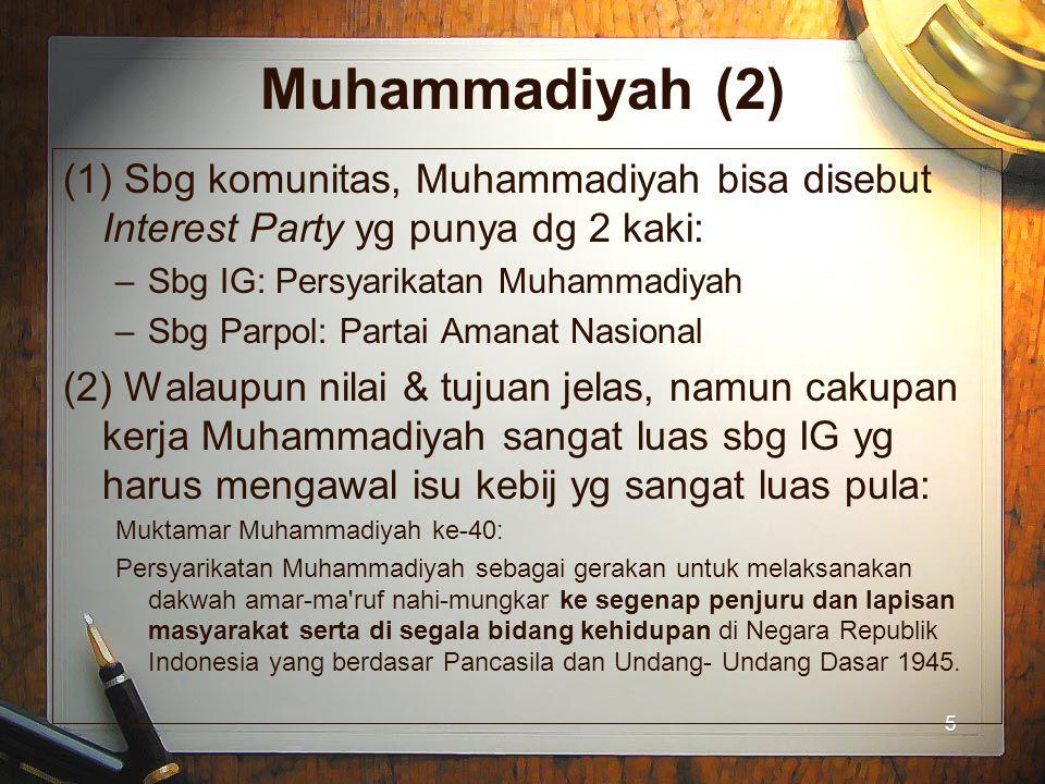 5 5 Muhammadiyah (2) (1) Sbg komunitas, Muhammadiyah bisa disebut Interest Party yg punya dg 2 kaki: –Sbg IG: Persyarikatan Muhammadiyah –Sbg Parpol: