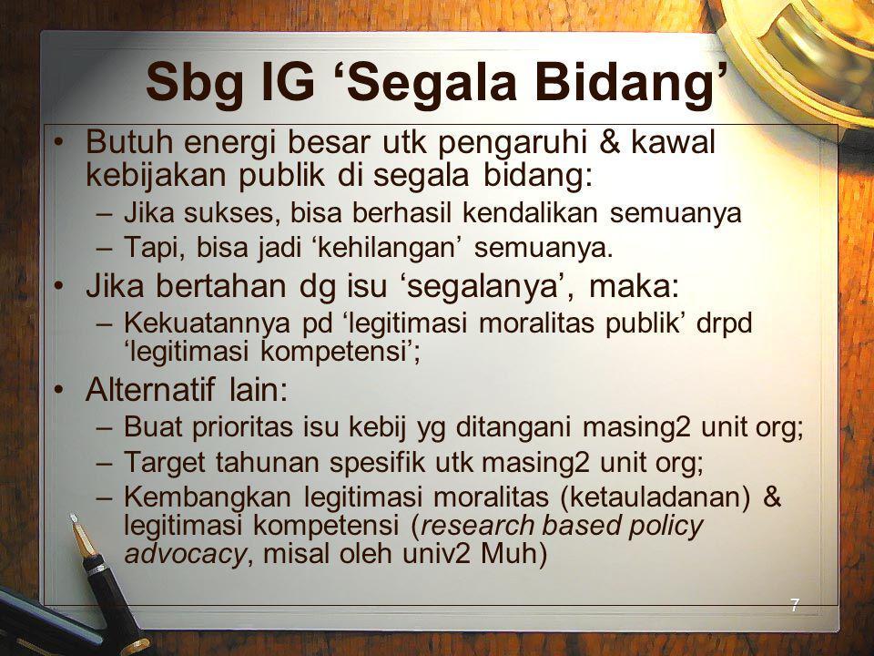7 7 Sbg IG 'Segala Bidang' Butuh energi besar utk pengaruhi & kawal kebijakan publik di segala bidang: –Jika sukses, bisa berhasil kendalikan semuanya