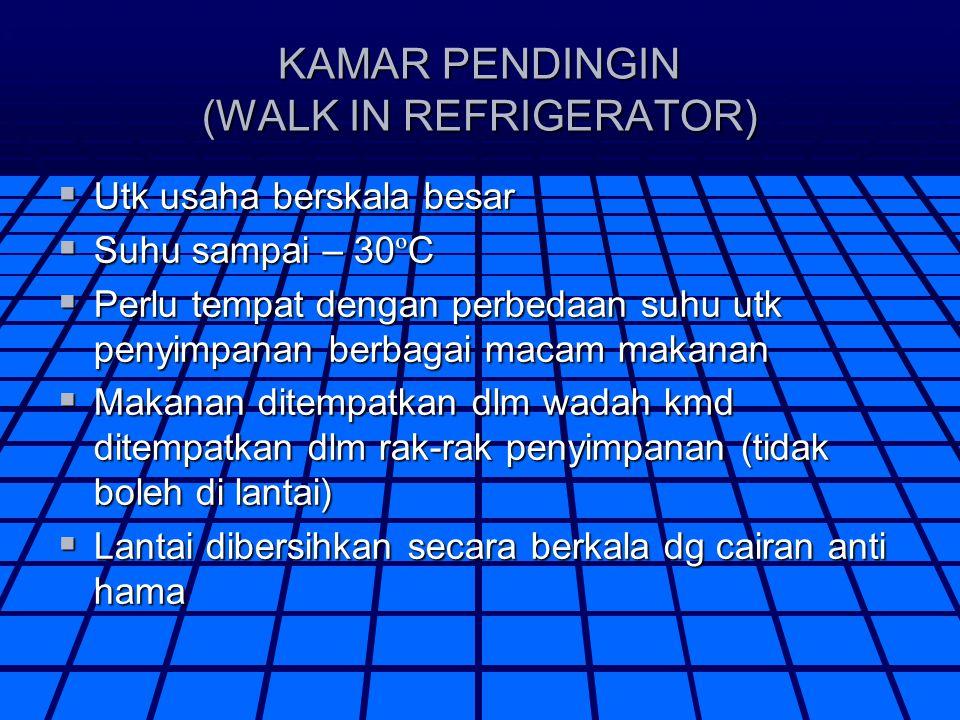KAMAR PENDINGIN (WALK IN REFRIGERATOR)  Utk usaha berskala besar  Suhu sampai – 30 º C  Perlu tempat dengan perbedaan suhu utk penyimpanan berbagai