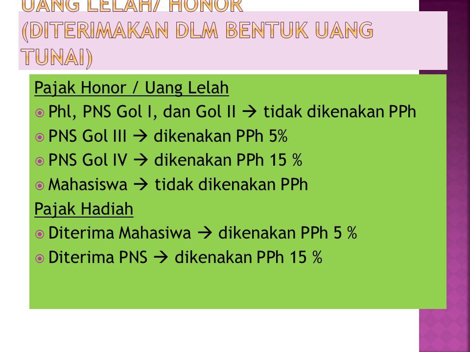 Pajak Honor / Uang Lelah  Phl, PNS Gol I, dan Gol II  tidak dikenakan PPh  PNS Gol III  dikenakan PPh 5%  PNS Gol IV  dikenakan PPh 15 %  Mahas