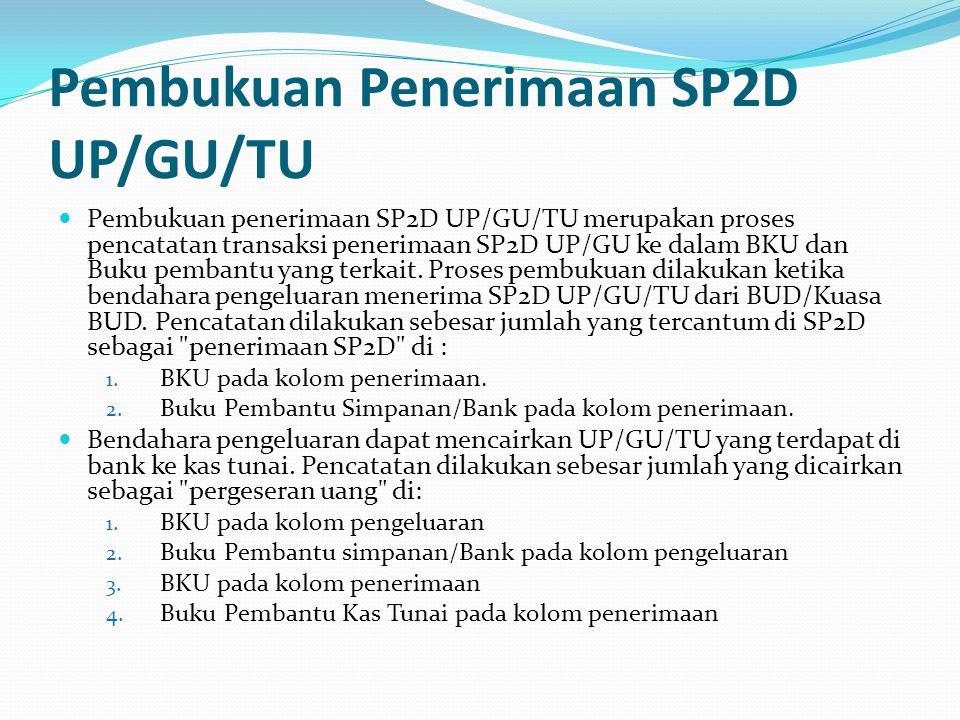 Pembukuan Penerimaan SP2D UP/GU/TU Pembukuan penerimaan SP2D UP/GU/TU merupakan proses pencatatan transaksi penerimaan SP2D UP/GU ke dalam BKU dan Buku pembantu yang terkait.