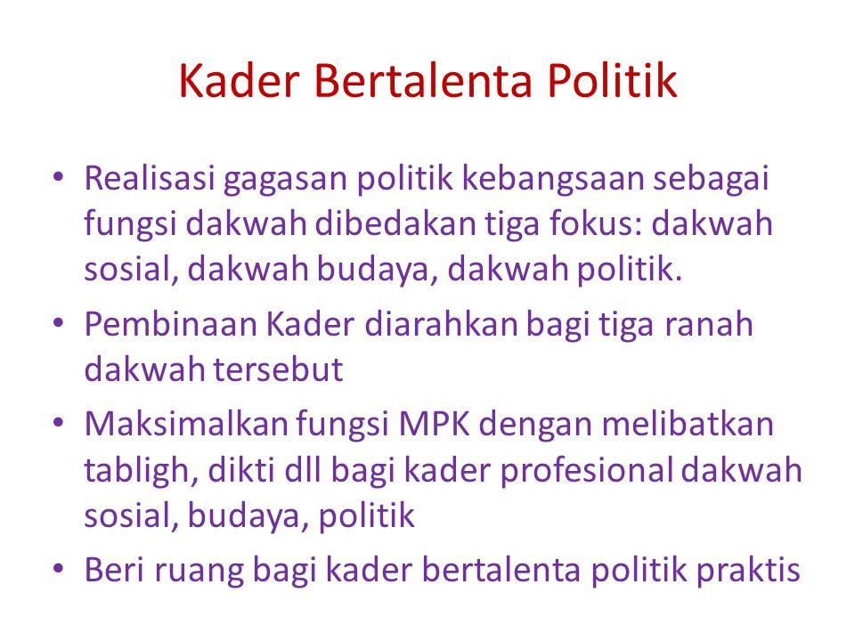 Kader Bertalenta Politik Realisasi gagasan politik kebangsaan sebagai fungsi dakwah dibedakan tiga fokus: dakwah sosial, dakwah budaya, dakwah politik.