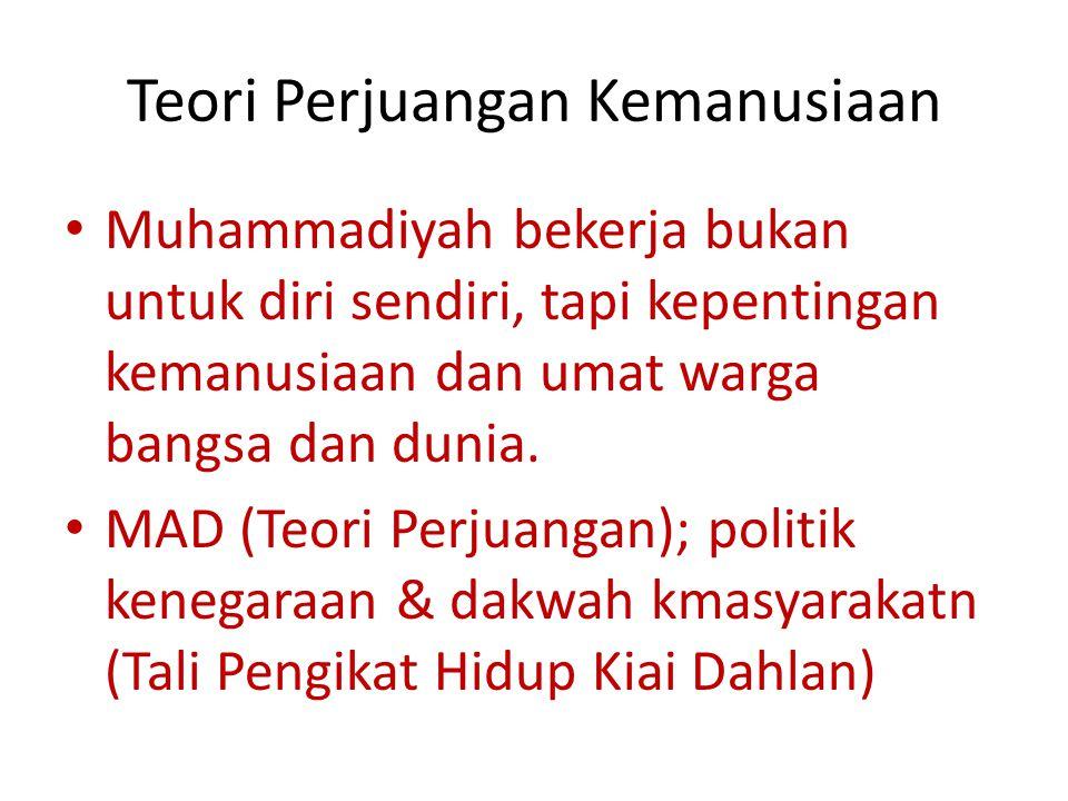 Teori Perjuangan Kemanusiaan Muhammadiyah bekerja bukan untuk diri sendiri, tapi kepentingan kemanusiaan dan umat warga bangsa dan dunia.