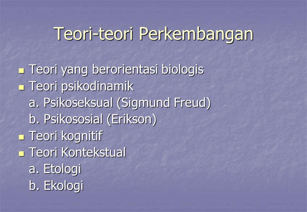 Teori-teori Perkembangan Teori yang berorientasi biologis Teori yang berorientasi biologis Teori psikodinamik Teori psikodinamik a.