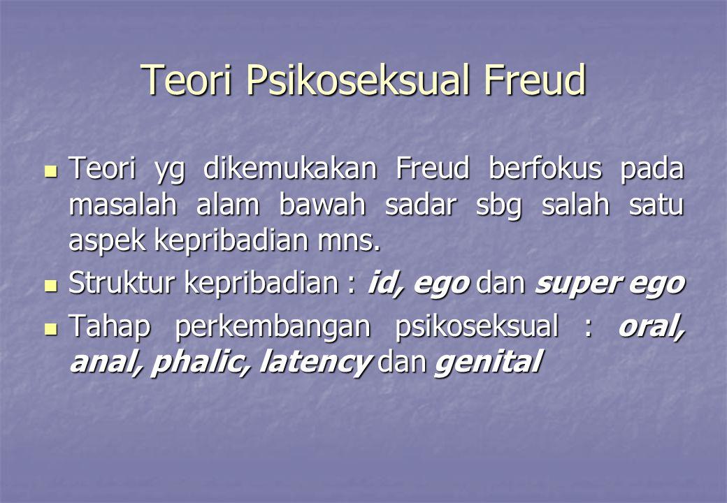 Teori Psikoseksual Freud Teori yg dikemukakan Freud berfokus pada masalah alam bawah sadar sbg salah satu aspek kepribadian mns. Teori yg dikemukakan