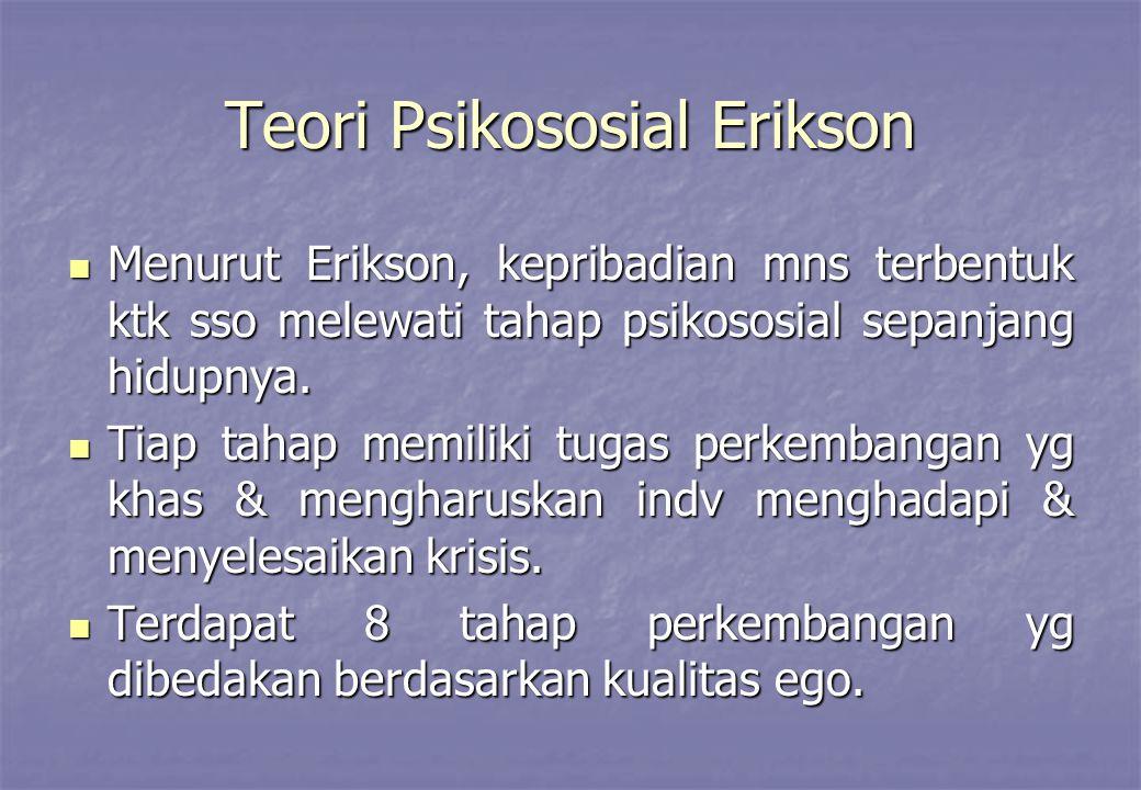 Teori Psikososial Erikson Menurut Erikson, kepribadian mns terbentuk ktk sso melewati tahap psikososial sepanjang hidupnya. Menurut Erikson, kepribadi