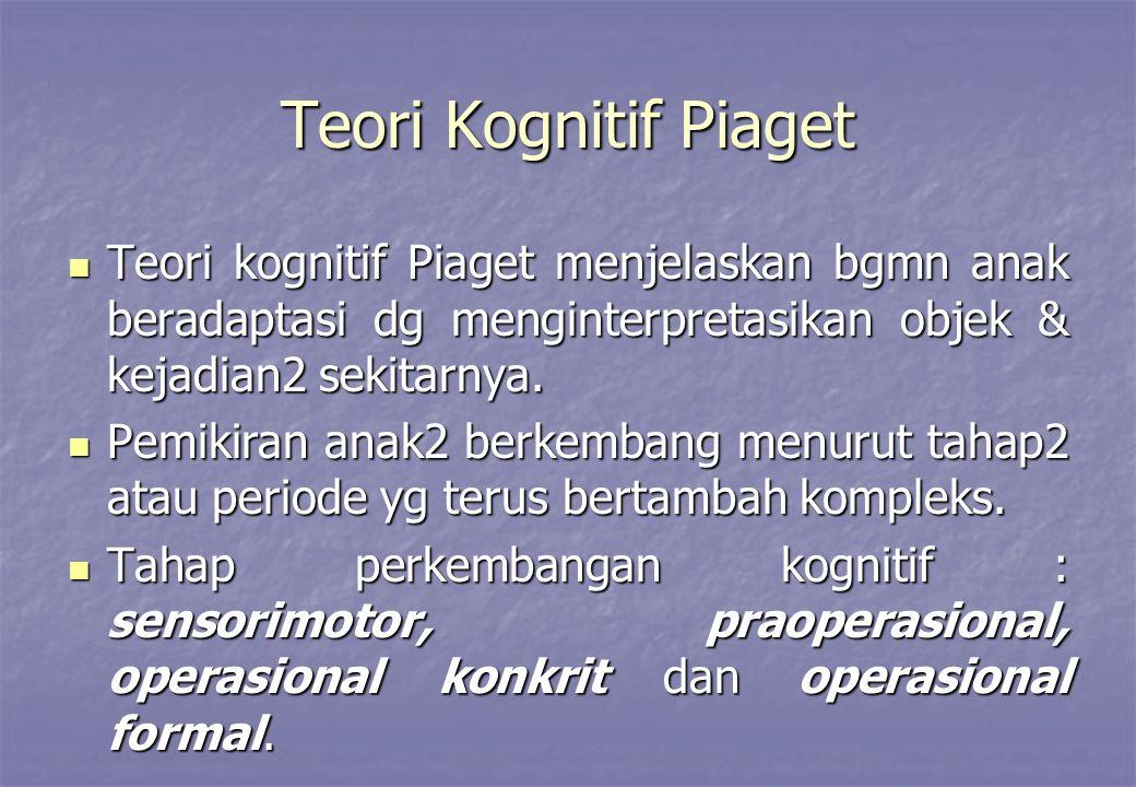 Teori Kognitif Piaget Teori kognitif Piaget menjelaskan bgmn anak beradaptasi dg menginterpretasikan objek & kejadian2 sekitarnya. Teori kognitif Piag