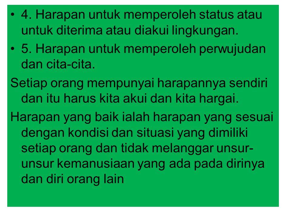 4. Harapan untuk memperoleh status atau untuk diterima atau diakui lingkungan. 5. Harapan untuk memperoleh perwujudan dan cita-cita. Setiap orang memp