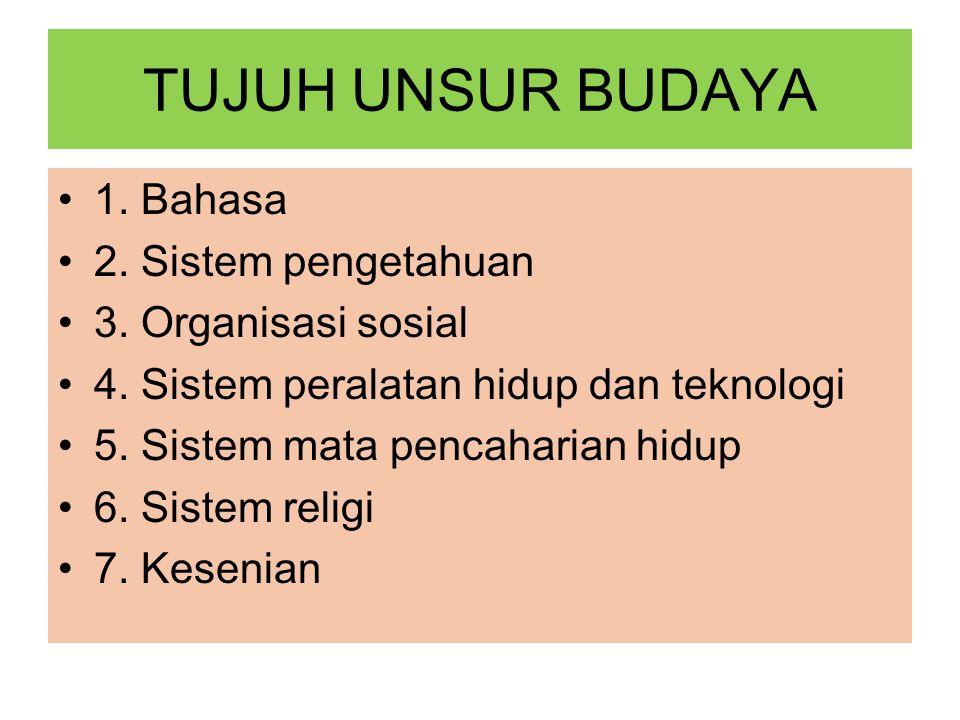 TUJUH UNSUR BUDAYA 1. Bahasa 2. Sistem pengetahuan 3. Organisasi sosial 4. Sistem peralatan hidup dan teknologi 5. Sistem mata pencaharian hidup 6. Si