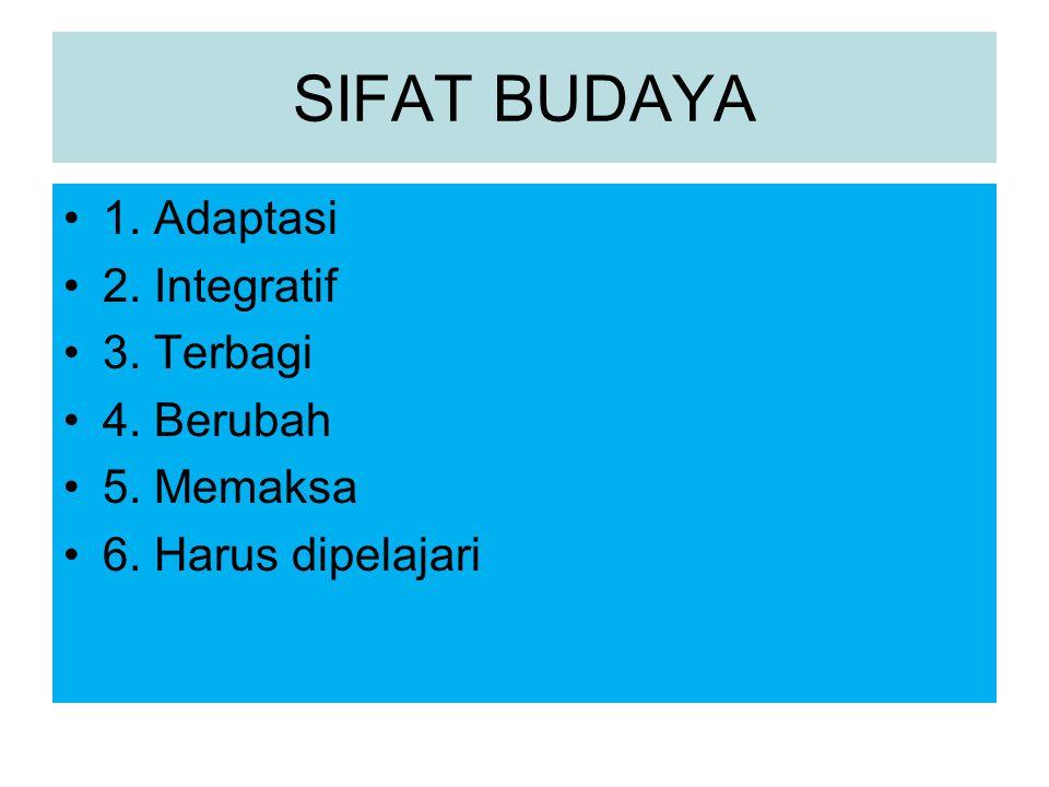 SIFAT BUDAYA 1. Adaptasi 2. Integratif 3. Terbagi 4. Berubah 5. Memaksa 6. Harus dipelajari