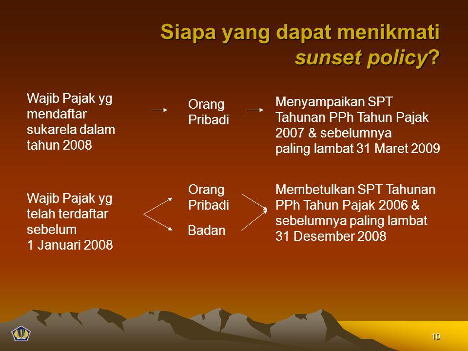 Siapa yang dapat menikmati sunset policy? Siapa yang dapat menikmati sunset policy? Orang Pribadi Badan Membetulkan SPT Tahunan PPh Tahun Pajak 2006 &
