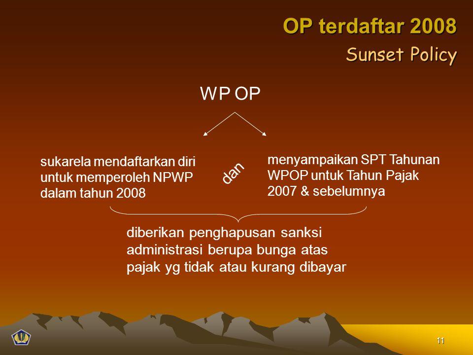 OP terdaftar 2008 WP OP sukarela mendaftarkan diri untuk memperoleh NPWP dalam tahun 2008 menyampaikan SPT Tahunan WPOP untuk Tahun Pajak 2007 & sebel