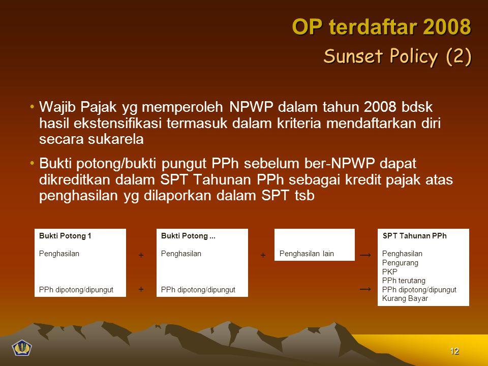 Wajib Pajak yg memperoleh NPWP dalam tahun 2008 bdsk hasil ekstensifikasi termasuk dalam kriteria mendaftarkan diri secara sukarela Bukti potong/bukti