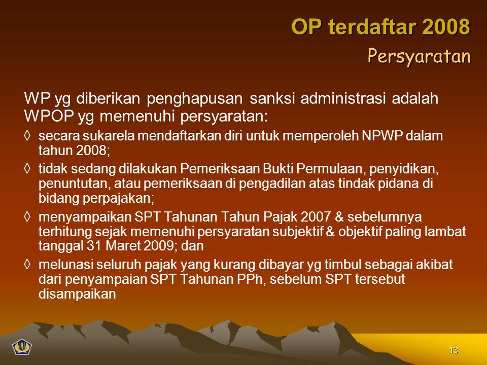 WP yg diberikan penghapusan sanksi administrasi adalah WPOP yg memenuhi persyaratan: ◊secara sukarela mendaftarkan diri untuk memperoleh NPWP dalam ta