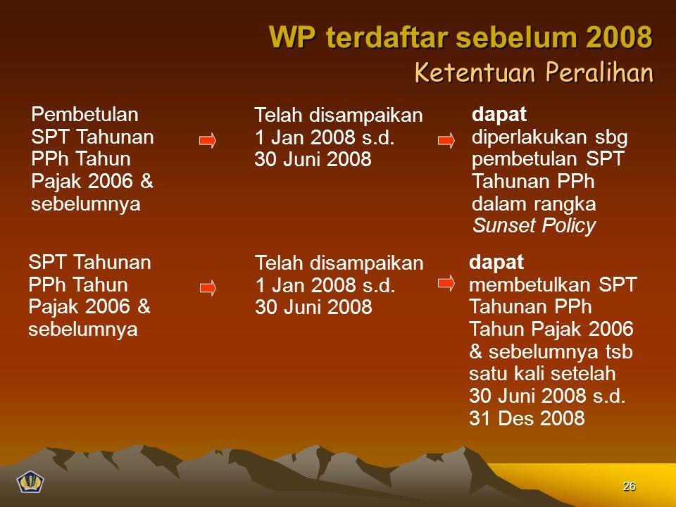 Ketentuan Peralihan Pembetulan SPT Tahunan PPh Tahun Pajak 2006 & sebelumnya Telah disampaikan 1 Jan 2008 s.d. 30 Juni 2008 dapat diperlakukan sbg pem