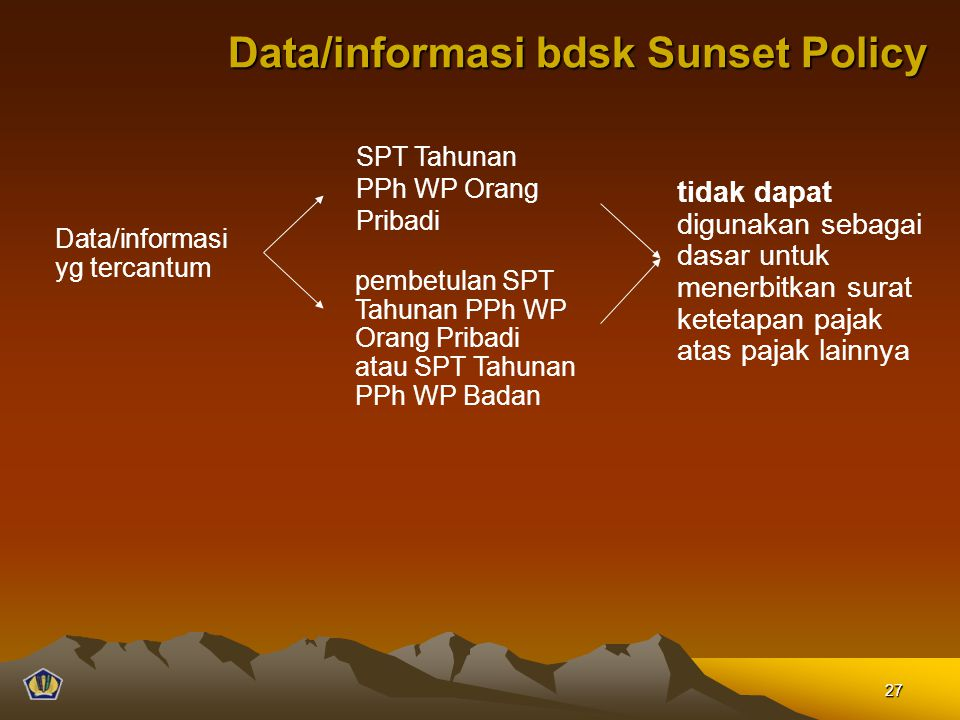 Data/informasi bdsk Sunset Policy SPT Tahunan PPh WP Orang Pribadi pembetulan SPT Tahunan PPh WP Orang Pribadi atau SPT Tahunan PPh WP Badan tidak dap