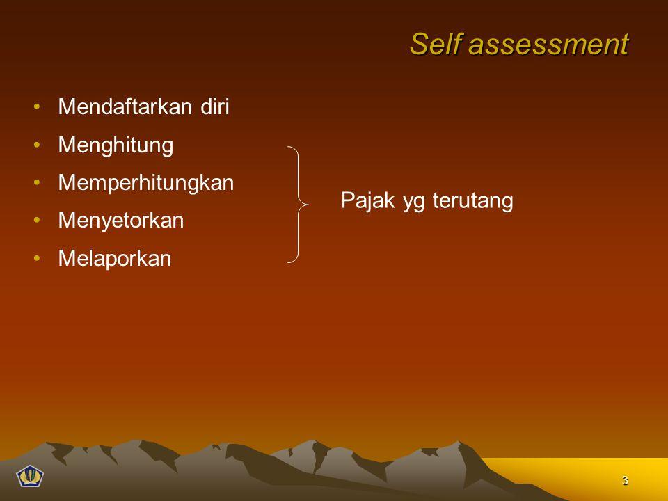 Self assessment Mendaftarkan diri Menghitung Memperhitungkan Menyetorkan Melaporkan Pajak yg terutang 3