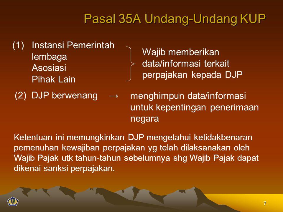 Pasal 35A Undang-Undang KUP (1)Instansi Pemerintah lembaga Asosiasi Pihak Lain Wajib memberikan data/informasi terkait perpajakan kepada DJP (2) DJP b