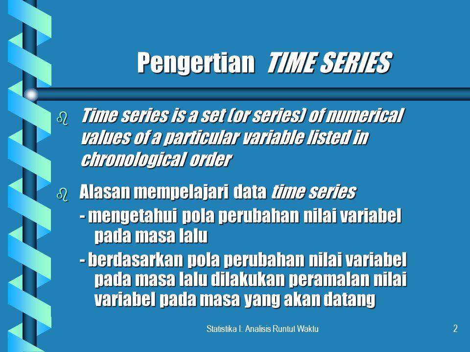 Statistika I: Analisis Runtut Waktu3 Komponen Time Series b Secular Trend (Long-term Trend) - T b Seasonal Variations (Seasonal Effect) - S b Cyclical Fluctuations (Cyclical Effect) - C b Irregular Movements (Random Variation) - I Total pengaruh: Y = T x S x C x I