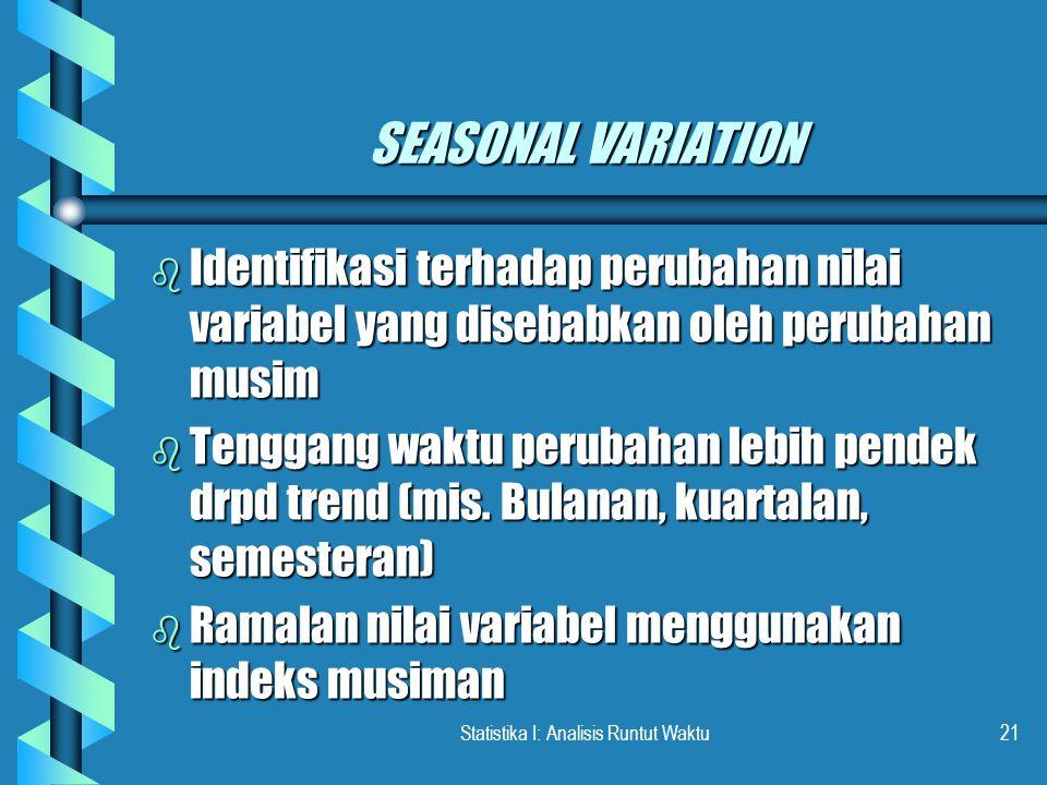 Statistika I: Analisis Runtut Waktu21 SEASONAL VARIATION b Identifikasi terhadap perubahan nilai variabel yang disebabkan oleh perubahan musim b Tenggang waktu perubahan lebih pendek drpd trend (mis.