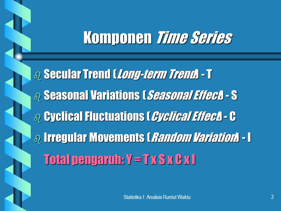Statistika I: Analisis Runtut Waktu14 LANJUTAN … Tahun dasar tahun 2004: Y = 34 + 6X TahunX Ramalan Y 20062 46 46 2007352 2008458 2009564 2010670 Y = 34 + 6(2) = 46