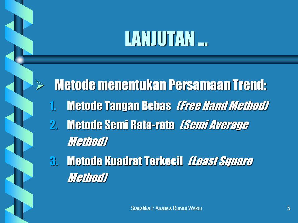 Statistika I: Analisis Runtut Waktu5 LANJUTAN …  Metode menentukan Persamaan Trend: 1.Metode Tangan Bebas (Free Hand Method) 2.Metode Semi Rata-rata (Semi Average Method) 3.Metode Kuadrat Terkecil (Least Square Method)