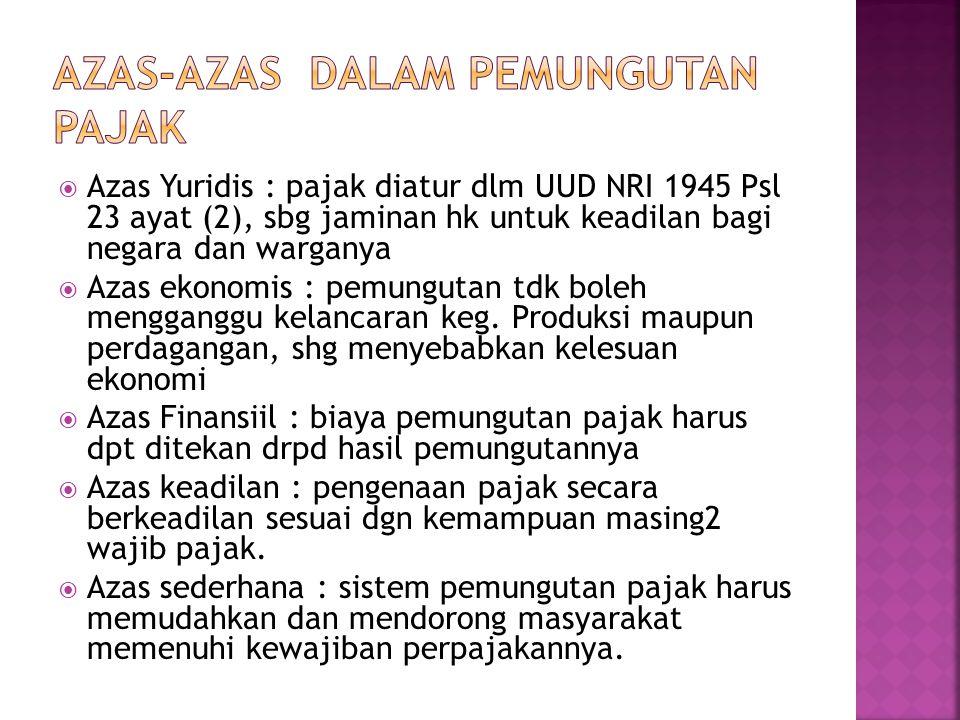  Azas Yuridis : pajak diatur dlm UUD NRI 1945 Psl 23 ayat (2), sbg jaminan hk untuk keadilan bagi negara dan warganya  Azas ekonomis : pemungutan td