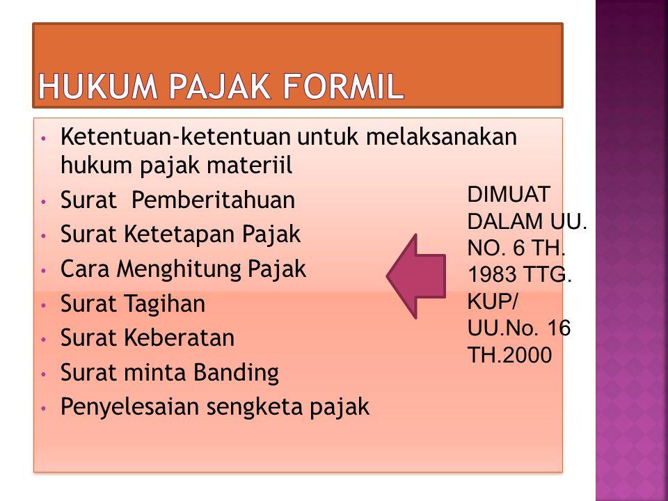 Ketentuan-ketentuan untuk melaksanakan hukum pajak materiil Surat Pemberitahuan Surat Ketetapan Pajak Cara Menghitung Pajak Surat Tagihan Surat Kebera