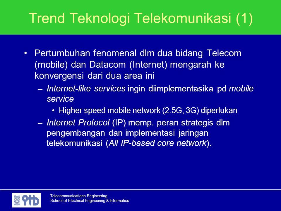 Telecommunications Engineering School of Electrical Engineering & Informatics Trend Teknologi Telekomunikasi (1) Pertumbuhan fenomenal dlm dua bidang