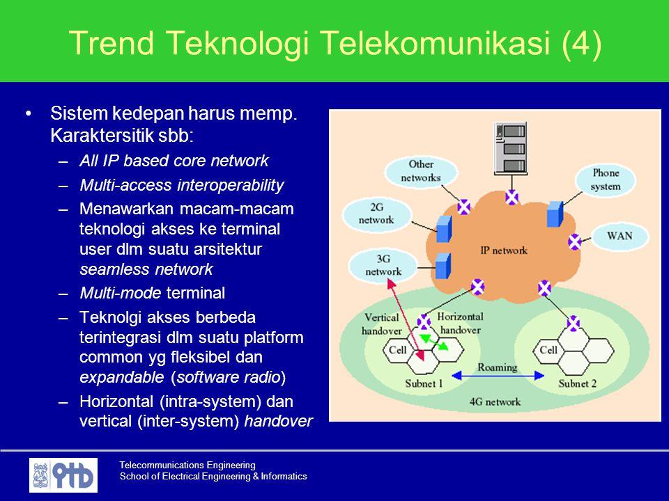 Telecommunications Engineering School of Electrical Engineering & Informatics Trend Teknologi Telekomunikasi (4) Sistem kedepan harus memp. Karaktersi