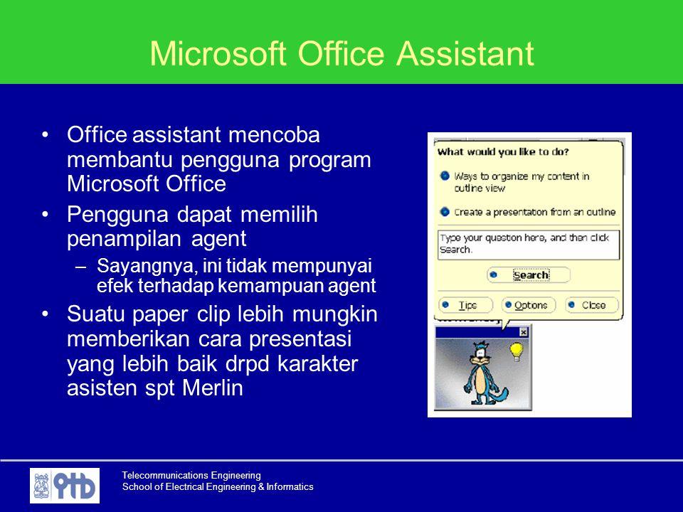 Telecommunications Engineering School of Electrical Engineering & Informatics Microsoft Office Assistant Office assistant mencoba membantu pengguna pr