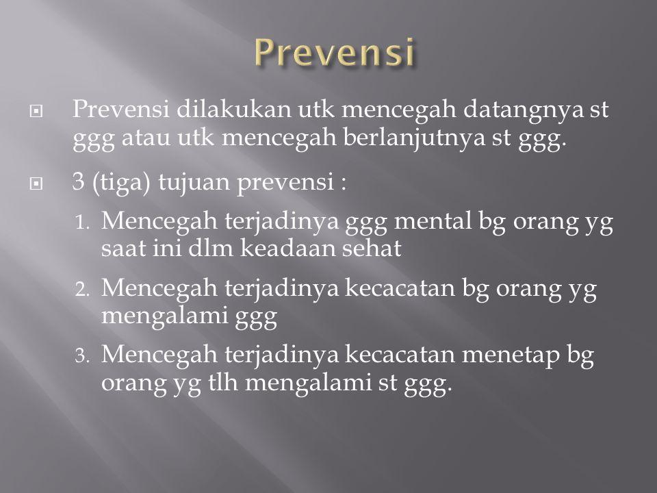 Prevensi dilakukan utk mencegah datangnya st ggg atau utk mencegah berlanjutnya st ggg.  3 (tiga) tujuan prevensi : 1. Mencegah terjadinya ggg ment