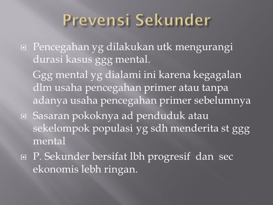  Pencegahan yg dilakukan utk mengurangi durasi kasus ggg mental. Ggg mental yg dialami ini karena kegagalan dlm usaha pencegahan primer atau tanpa ad