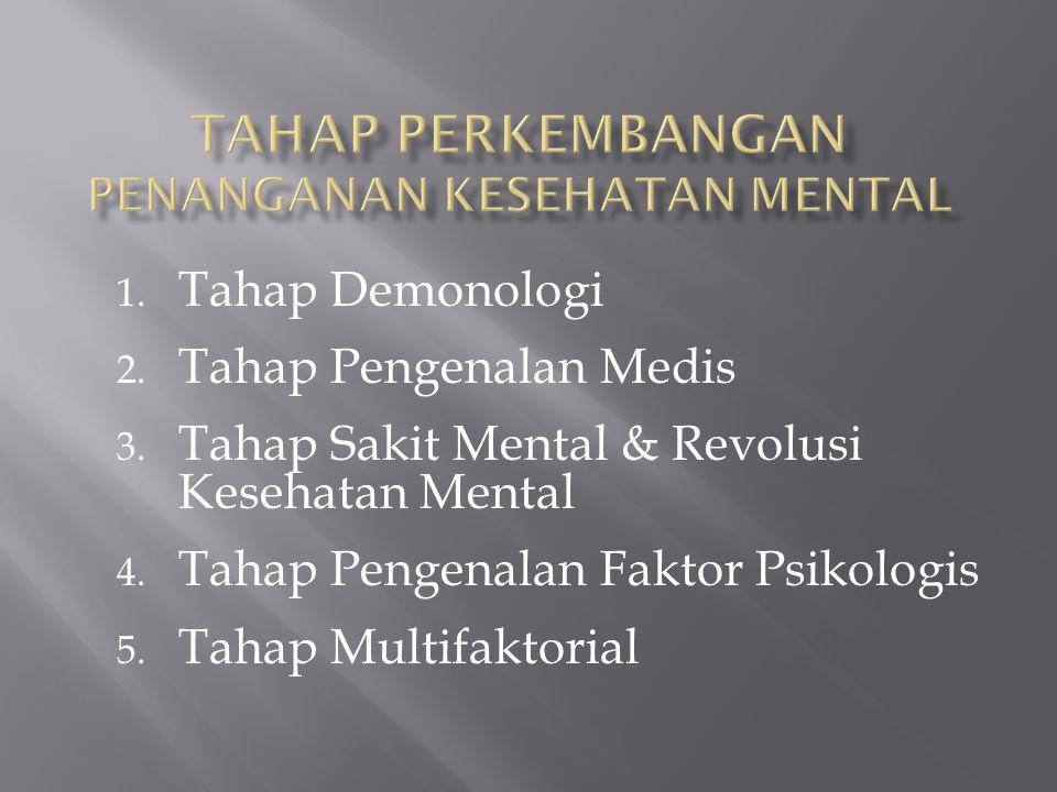 1. Tahap Demonologi 2. Tahap Pengenalan Medis 3. Tahap Sakit Mental & Revolusi Kesehatan Mental 4. Tahap Pengenalan Faktor Psikologis 5. Tahap Multifa