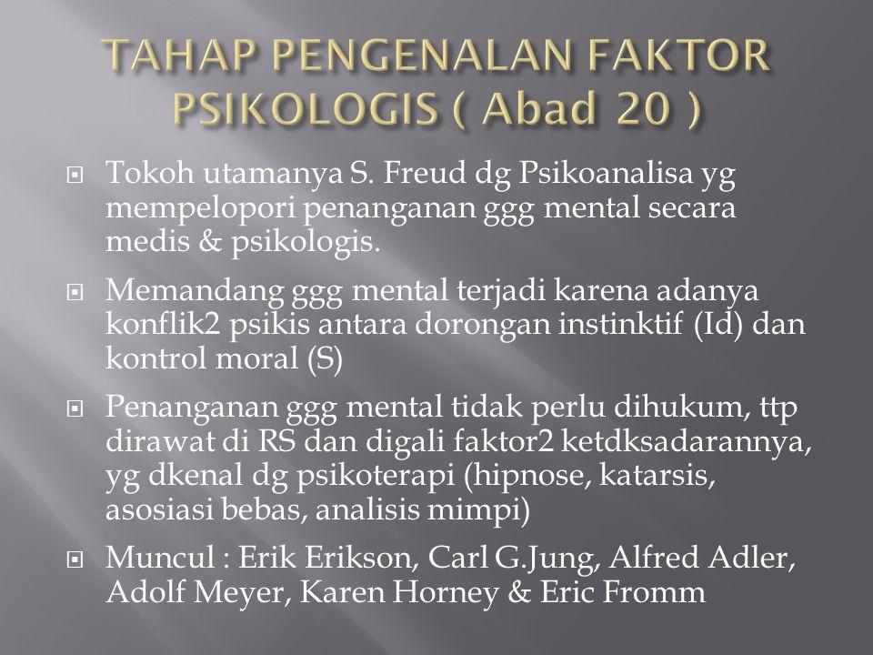  Tokoh utamanya S. Freud dg Psikoanalisa yg mempelopori penanganan ggg mental secara medis & psikologis.  Memandang ggg mental terjadi karena adanya