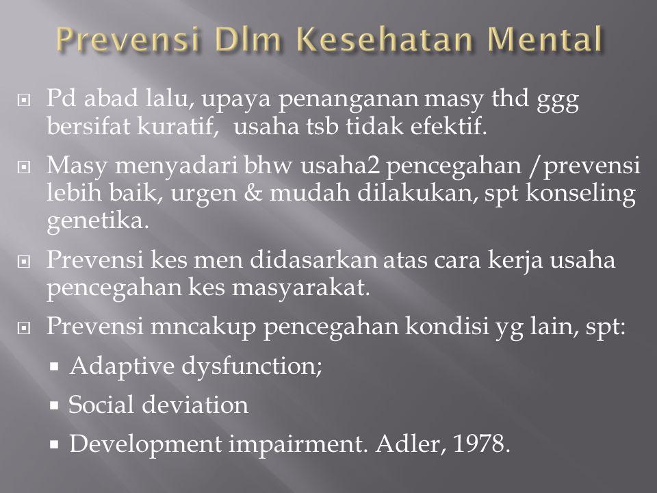 Karakteristik gerakan kes men masy dibedakan dr pendekatn klinis ortodoks, Bloom dlm Goldenberg,1980.