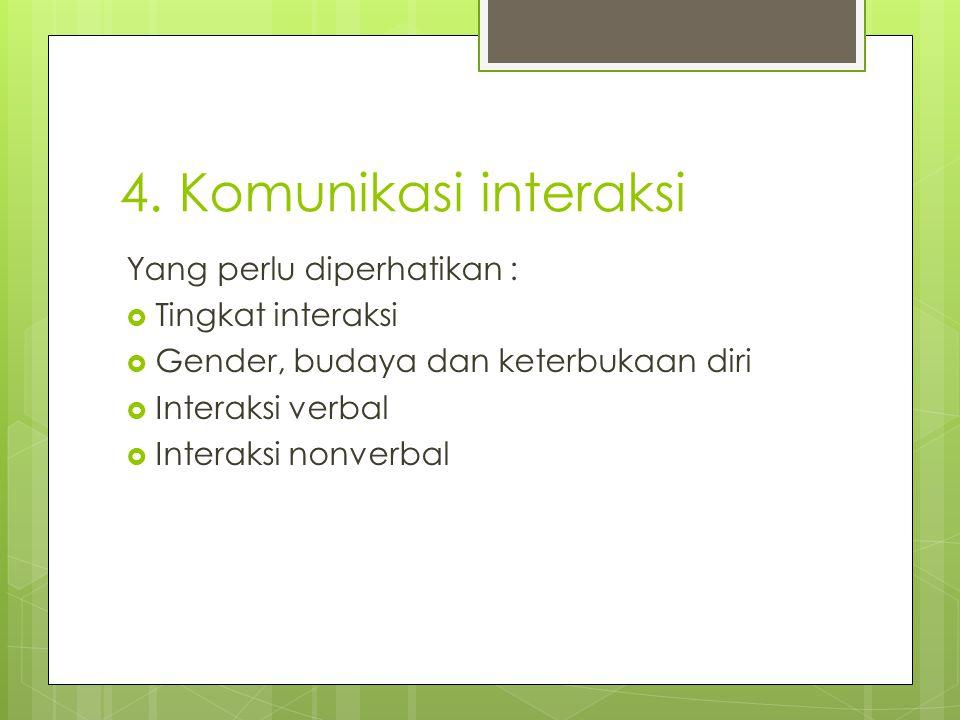4. Komunikasi interaksi Yang perlu diperhatikan :  Tingkat interaksi  Gender, budaya dan keterbukaan diri  Interaksi verbal  Interaksi nonverbal