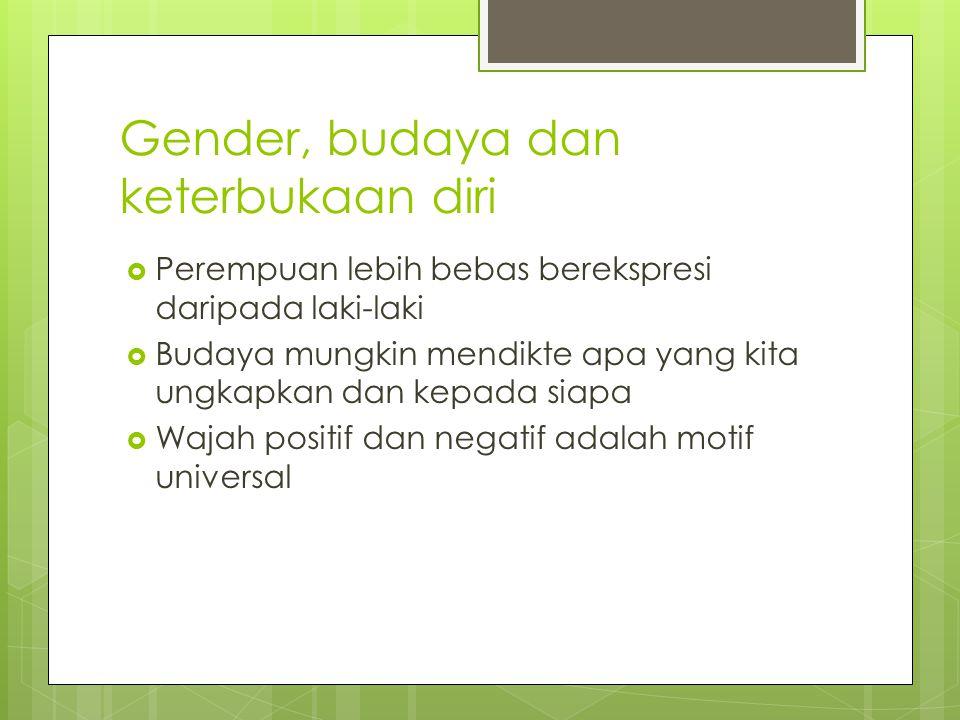 Gender, budaya dan keterbukaan diri  Perempuan lebih bebas berekspresi daripada laki-laki  Budaya mungkin mendikte apa yang kita ungkapkan dan kepad