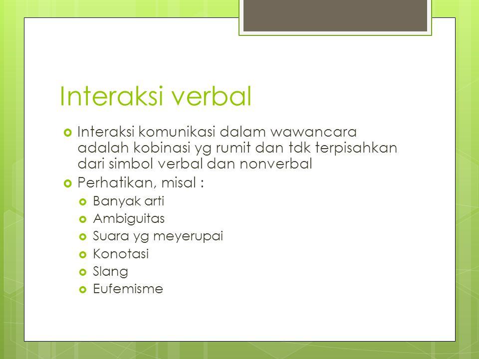 Interaksi verbal  Interaksi komunikasi dalam wawancara adalah kobinasi yg rumit dan tdk terpisahkan dari simbol verbal dan nonverbal  Perhatikan, mi