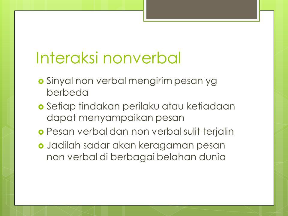Interaksi nonverbal  Sinyal non verbal mengirim pesan yg berbeda  Setiap tindakan perilaku atau ketiadaan dapat menyampaikan pesan  Pesan verbal da