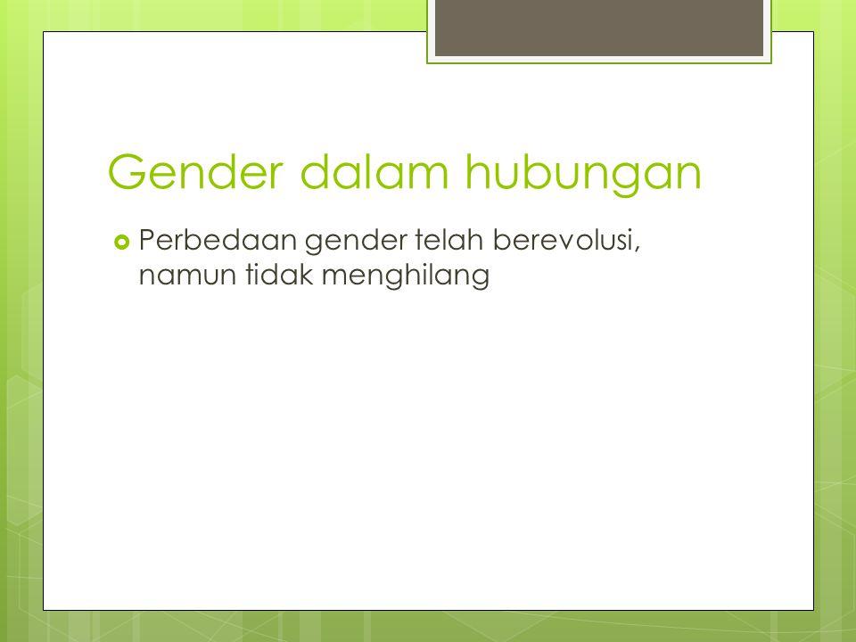 Gender dalam hubungan  Perbedaan gender telah berevolusi, namun tidak menghilang