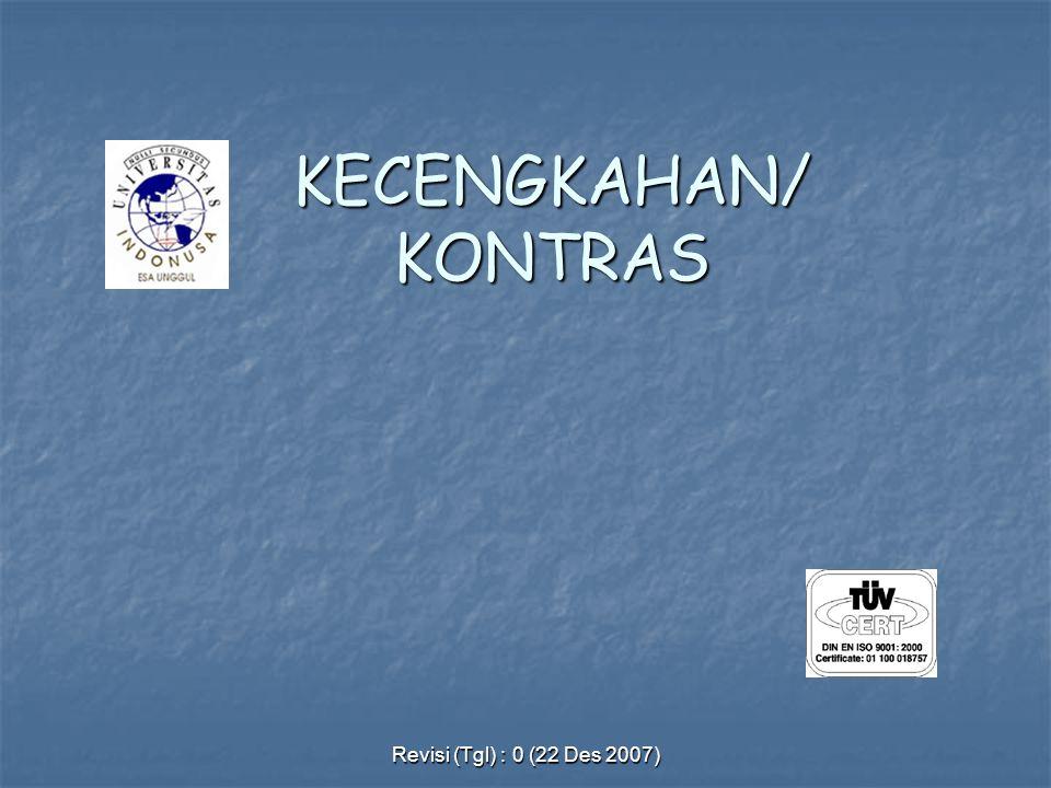 Revisi (Tgl) : 0 (22 Des 2007) KECENGKAHAN/ KONTRAS