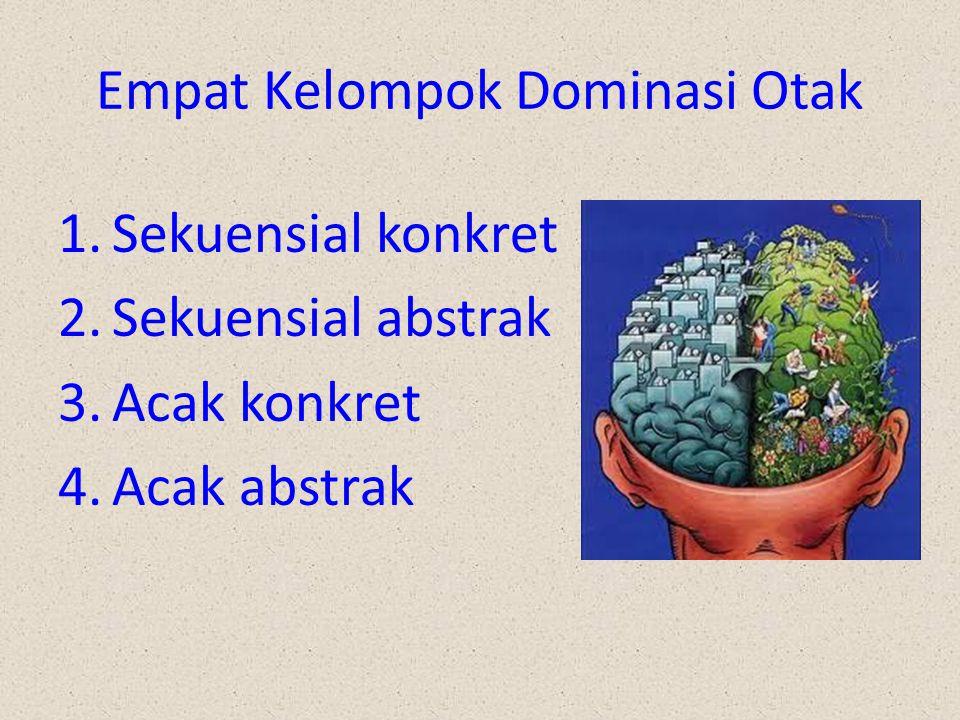 Empat Kelompok Dominasi Otak 1.Sekuensial konkret 2.Sekuensial abstrak 3.Acak konkret 4.Acak abstrak