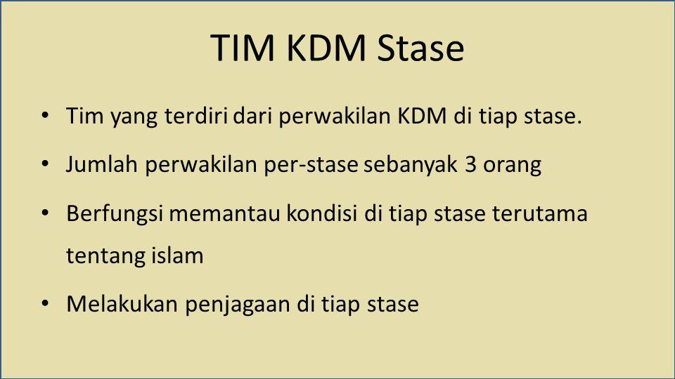 TIM KDM Stase Tim yang terdiri dari perwakilan KDM di tiap stase. Jumlah perwakilan per-stase sebanyak 3 orang Berfungsi memantau kondisi di tiap stas