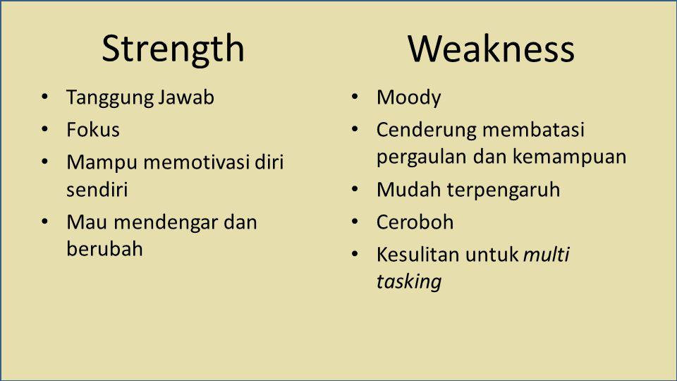 Strength Tanggung Jawab Fokus Mampu memotivasi diri sendiri Mau mendengar dan berubah Moody Cenderung membatasi pergaulan dan kemampuan Mudah terpengaruh Ceroboh Kesulitan untuk multi tasking Weakness