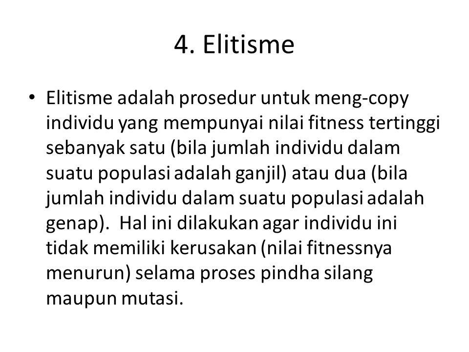 4. Elitisme Elitisme adalah prosedur untuk meng-copy individu yang mempunyai nilai fitness tertinggi sebanyak satu (bila jumlah individu dalam suatu p