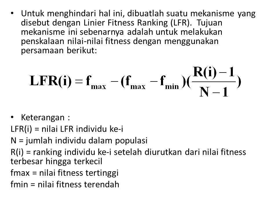 Untuk menghindari hal ini, dibuatlah suatu mekanisme yang disebut dengan Linier Fitness Ranking (LFR). Tujuan mekanisme ini sebenarnya adalah untuk me